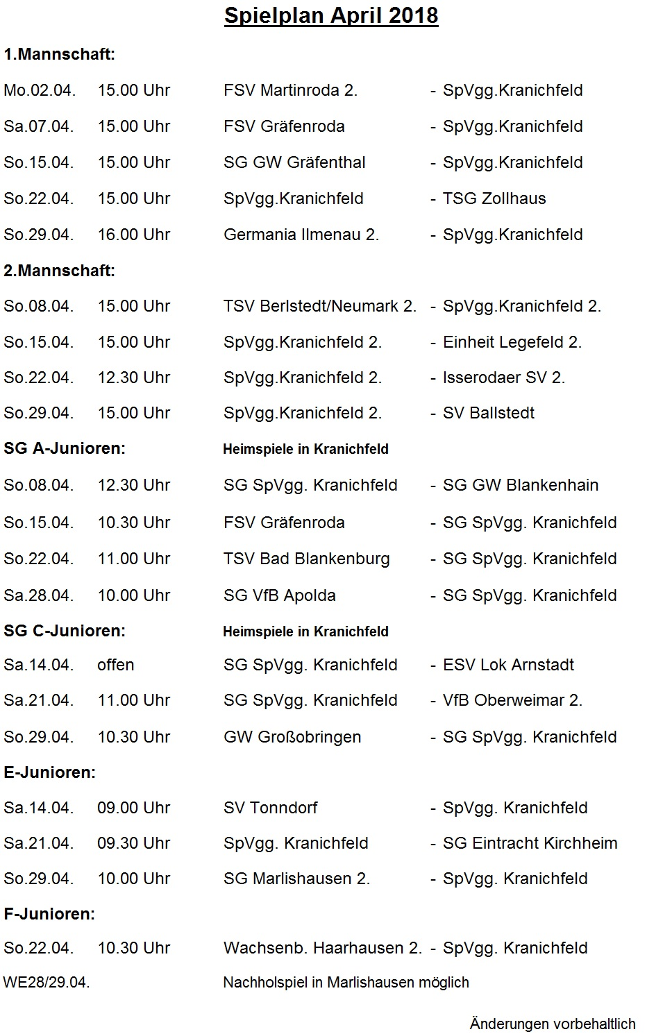 Spielplan April18